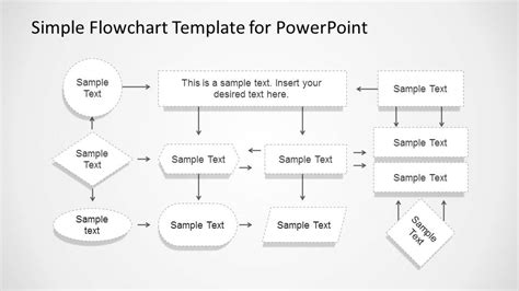 Simple Flowchart With Dotted Stroke For Powerpoint Slidemodel Simple Flow Chart Template