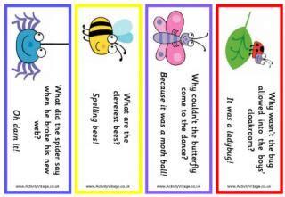 printable joke bookmarks more minibeast printables