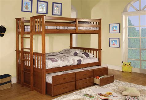 wooden twin over full bunk bed with trundle and stairs