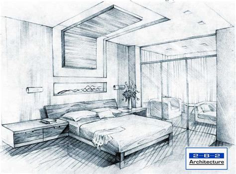 Sketch Of A Bedroom Interior Perspective Drawing 인테리어 스케치 Pinterest