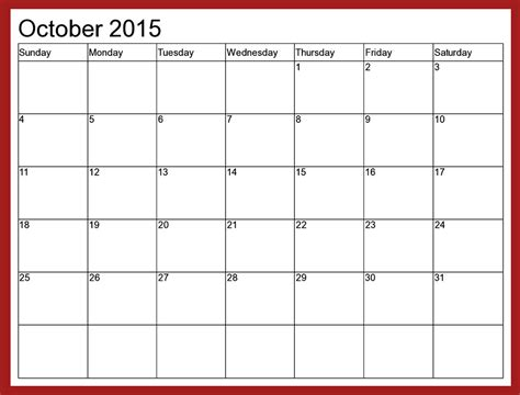 Calendar Templates by October 2015 Calendar Word Template 2017 Printable Calendar