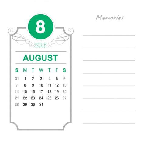 Calendario Agosto 2016 Calendario Agosto 2016 Vintage Descargar Vectores Gratis