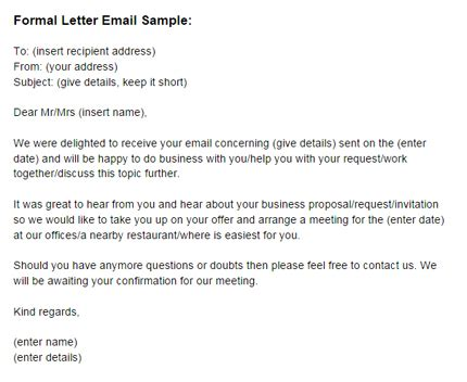 formal email template formal letter email sle formal email letter template