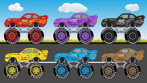 lightning mcqueen monster truck videos coloring lightning mcqueen disney monster truck for kids