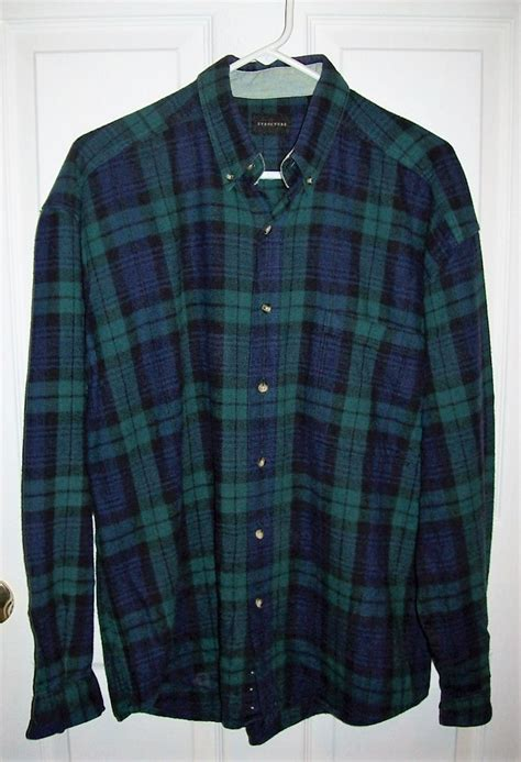 Kemeja Flannel Check Navy Green vintage s green navy plaid flannel shirt by