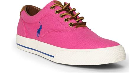 polo ralph vaughn canvas sneaker in pink for lyst