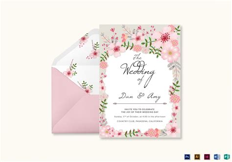 illustrator invitation card template pink floral wedding invitation card design template in psd