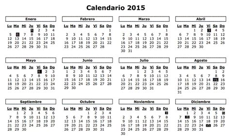 Calendario Oficial 2015 Calendario Laboral 2015 8 Fiestas Nacionales Para El