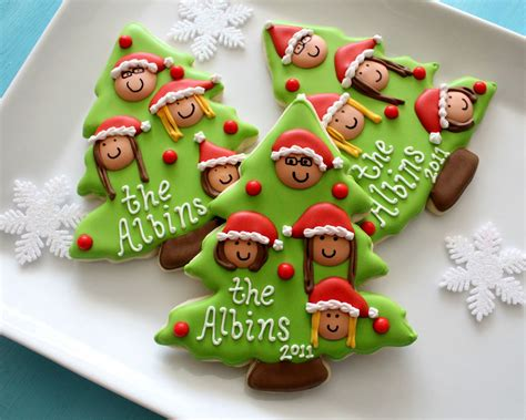 christmas family tree cookies with printable toppers