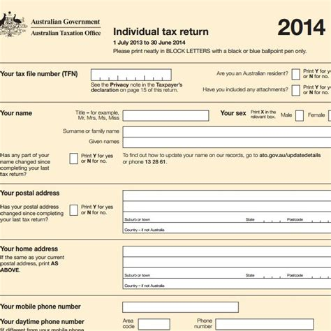 individual tax return forms ato tax rates for income tax in australia