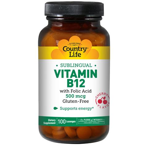Vit B12 Country Vitamin B12 Sublingual Cherry Flavor 500
