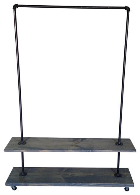 industrial garment rack with gray washed shelf