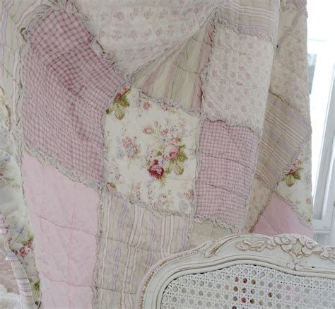 Shabby Chic Patchwork Quilt - shabby country chic baby cot crib pink rag