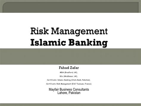 Islamic Risk Management For Islamic risk management islamic banking