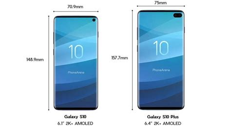 samsung galaxy s10 vs galaxy s10 plus specs size comparison