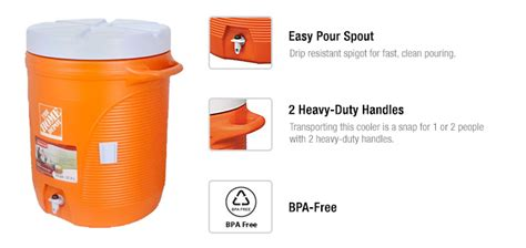 rubbermaid 10 gal orange water cooler fg1610hdoran the