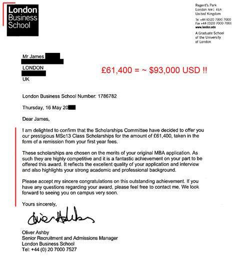 Business Letter Club 93k mba scholarship to business school the gmat club