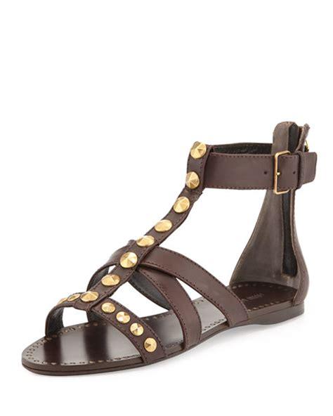 studded gladiator flat sandals miu miu studded flat gladiator sandal brown