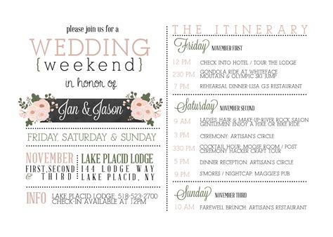 wedding weekend itinerary template weekend agenda template calendar template 2016