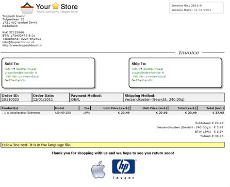 Opencart Invoice Template Invoice Exle Opencart Invoice Template