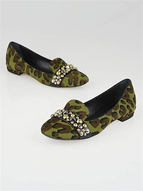 Chain Leopard Louis Vuitton Shoes by Louis Vuitton Army Green Leopard Print Pony Hair Studded