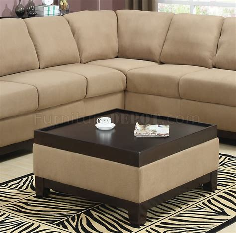 suede sectional sofas mocha padded suede modern sectional sofa w dark wood trim
