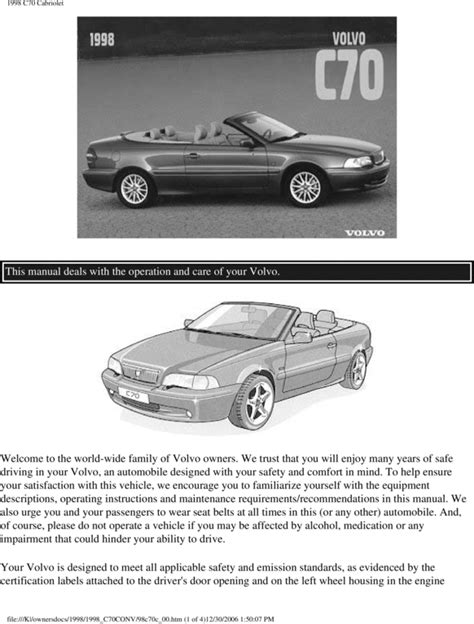 Free 00 Volvo C70 Convertible 2000 Owners Manual Download