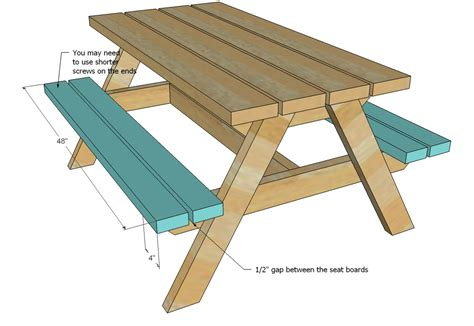 build a picnic bench ana white build a bigger kid s picnic table diy projects