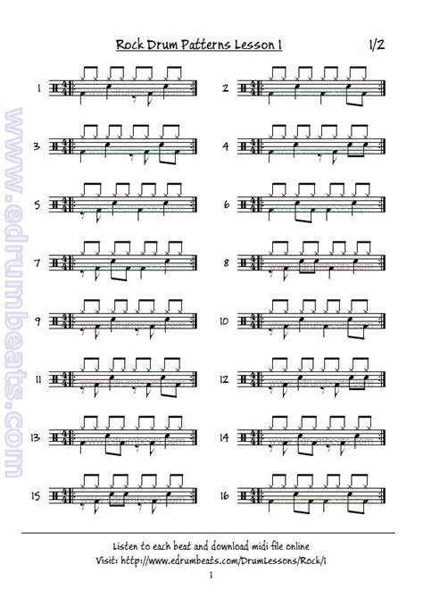 drum pattern lesson rock drum lesson 1 page 1 basic eight note rock beats