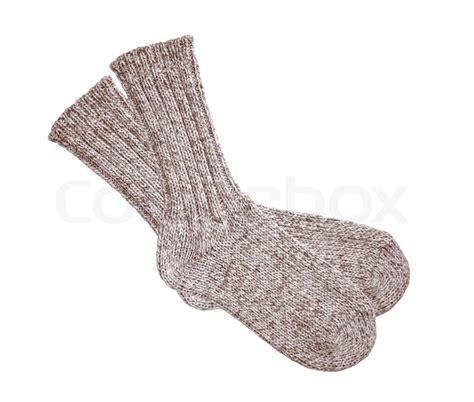 sock background grey wool socks isolated on white background stock photo