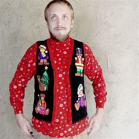 humping teddy bear tacky ugly christmas sweater vest m