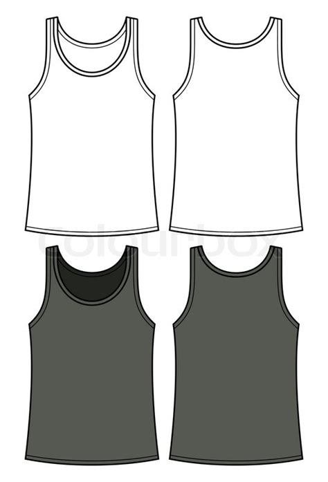 black and white singlet template front and back vector