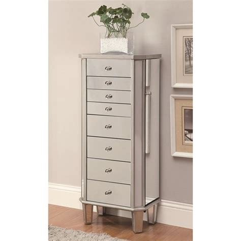 Coaster 903808 Silver Glass Jewelry Armoire Steal A Sofa