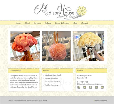 home decorating blog sites custom wedding florist website design and web developement