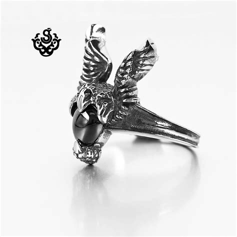 E248 Tas Fashion Import Vintage Ring Black silver wings ring black onyx solid stainless steel band ebay