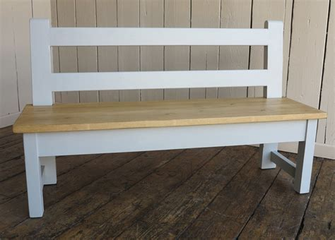 plank top bench with back rest for dining or kitchen tables