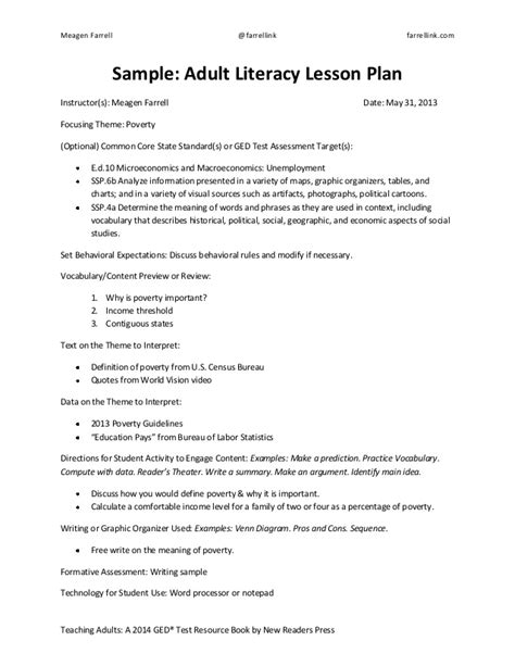 lesson plan template for adults 2014 ged test lesson plan template sle education pays
