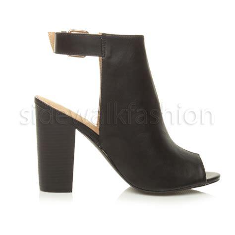 high heel open toe boots womens high block heel peep toe open back ankle