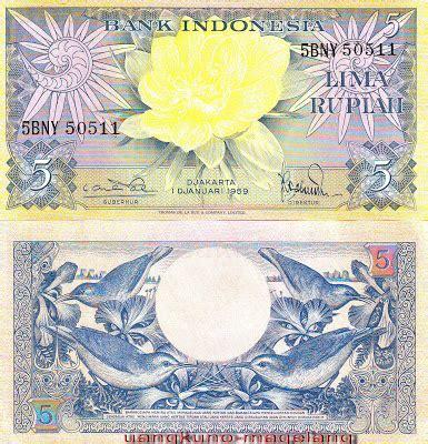 10 Rupiah Bunga Burung Th 1959 uangkuno magelang seri bunga 1959