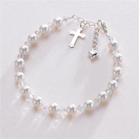 Girls First Communion Swarovski pearl and Aurora Borealis crystals bracelet with Personalised Box