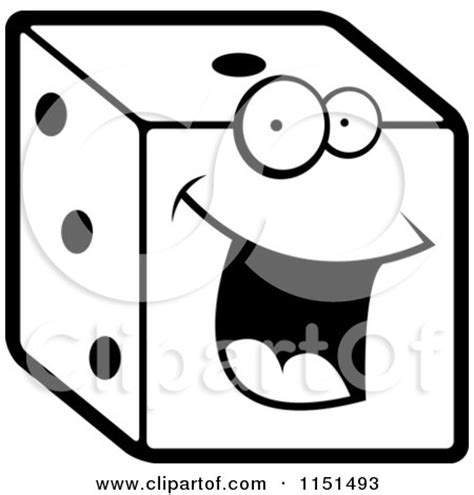 royalty free rf clipart illustration of a happy dice by