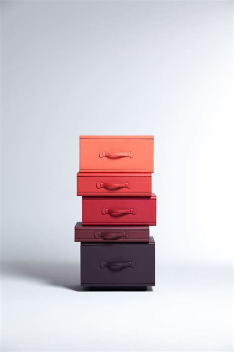 design milk leather travel towers leather suitcase furniture by maarten de