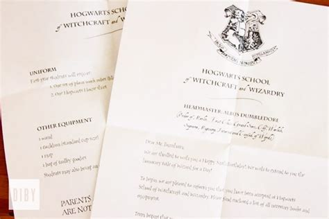 Acceptance Letter Into A Club The Ultimate Diby Harry Potter Birthday Do It Better Yourself Club