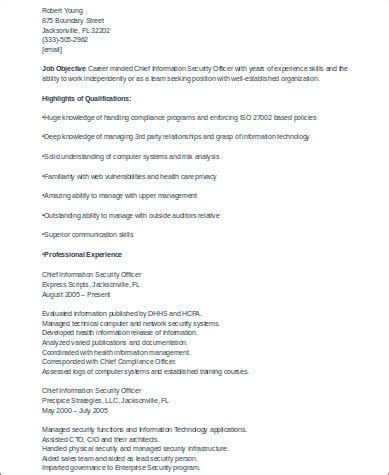chief information security officer resume sle 8 sle security officer resumes sle templates