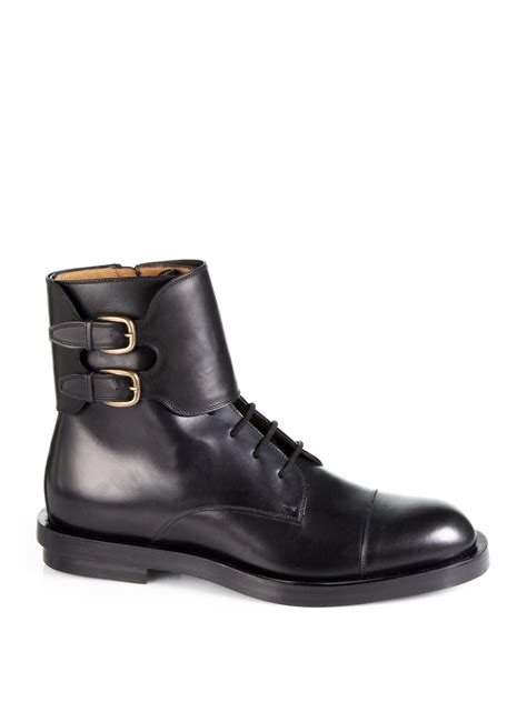 buckle boots lyst gucci leather buckle boots in black