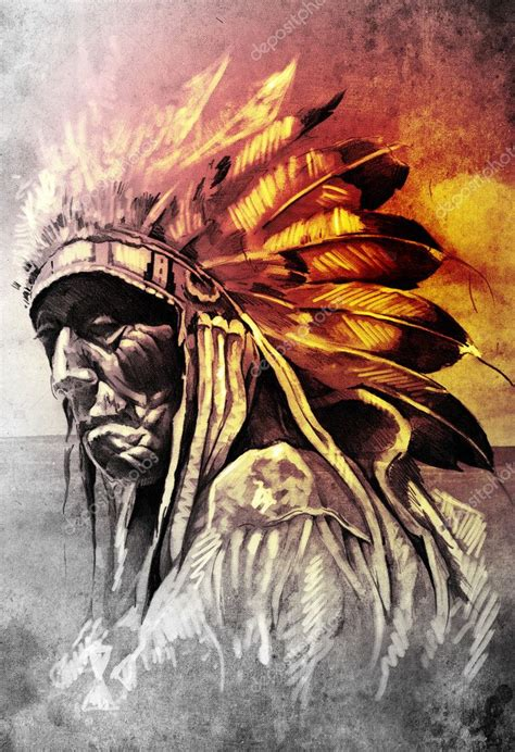 sketch of tattoo art indian head over artistic background