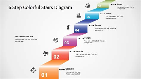 powerpoint tutorial step by step 6 step colorful stairs diagram for powerpoint slidemodel