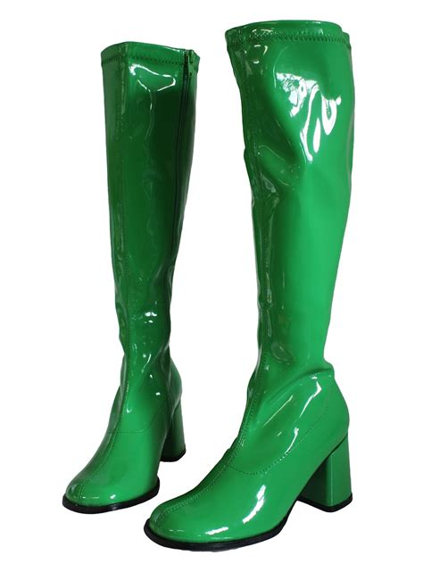 green boots 1970s green go go boots shoes late 60s or early 70s