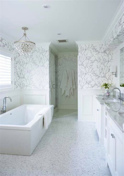 white  silver wallpaper transitional bathroom