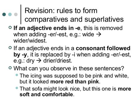 is comfortable an adjective na1 adjectives revision rules for comparatives and